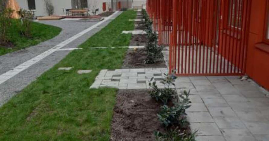 Plantering-plattsättning-husfasad